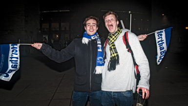 Hertha- und BVB-Fans im Vorher-Nachher-Check
