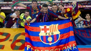 Barca- und Athletic-Fans singen ein Kinderlied